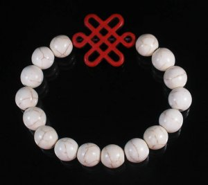 Charming Turquoise Colorful Chinese RED Knot Bead WHITE Veins Beads Stretch Bracelet ZZ2747