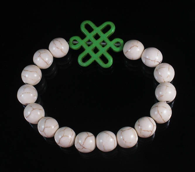 Charming Turquoise Colorful Chinese GREEN Knot Bead WHITE Veins Beads Stretch Bracelet ZZ2748