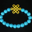 Charming Turquoise Colorful Chinese YELLOW Knot Bead BLUE Veins Beads Stretch Bracelet ZZ2753