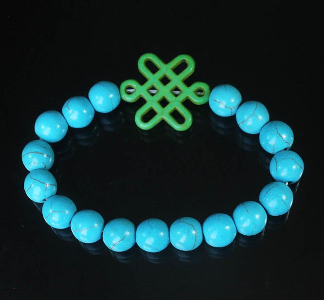 Charming Turquoise Colorful Chinese GREEN Knot Bead BLUE Veins Beads Stretch Bracelet ZZ2759