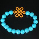 Charming Turquoise Colorful Chinese ORANGE Knot Bead BLUE Veins Beads Stretch Bracelet ZZ2760