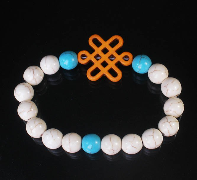 Charming Turquoise Colorful Chinese ORANGE Knot WHITE BLUE Veins Beads Stretch Bracelet ZZ2761