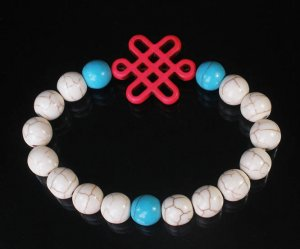 Charming Turquoise Colorful Chinese PINK Knot Bead WHITE BLUE Veins Beads Stretch Bracelet ZZ2768