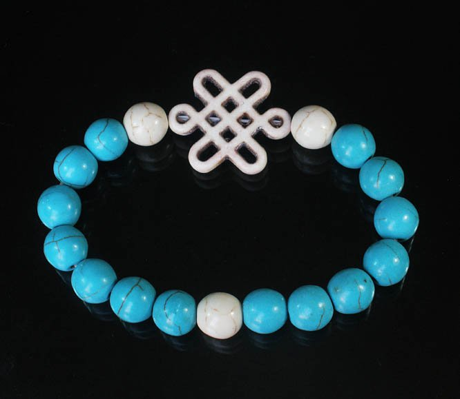 Charming Turquoise Colorful Chinese WHITE Knot Bead WHITE BLUE Veins Beads Stretch Bracelet ZZ2772