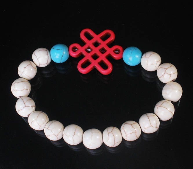 Charming Turquoise Colorful Chinese PINK Knot Bead WHITE BLUE Veins Beads Stretch Bracelet ZZ2778