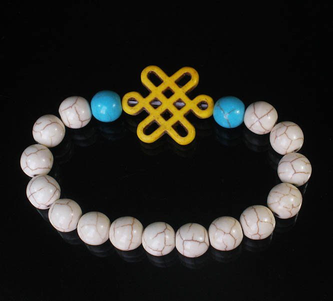 Charming Turquoise Colorful Chinese YELLOW Knot Bead WHITE BLUE Veins Beads Stretch Bracelet ZZ2779