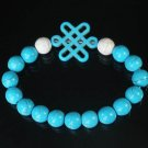 Charming Turquoise Colorful Chinese BLUE Knot Bead WHITE BLUE Veins Beads Stretch Bracelet ZZ2785