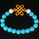 Charming Turquoise Colorful Chinese ORANGE Knot Bead WHITE BLUE Veins Beads Stretch Bracelet ZZ2788