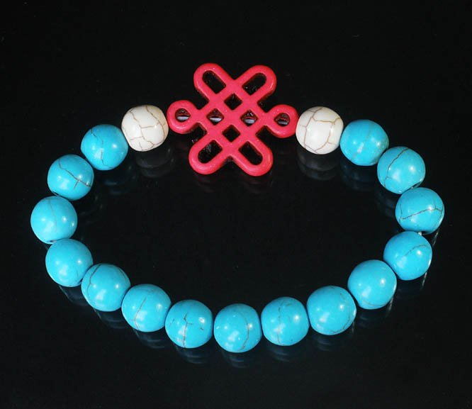 Charming Turquoise Colorful Chinese PINK Knot Bead WHITE BLUE Veins Beads Stretch Bracelet ZZ2789