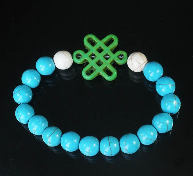 Charming Turquoise Colorful Chinese GREEN Knot Bead WHITE BLUE Veins Beads Stretch Bracelet ZZ2791