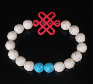 Charming Turquoise Colorful Chinese PINK Knot WHITE BLUE Veins Beads Stretch Bracelet ZZ2798