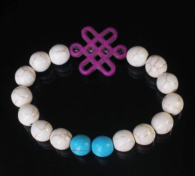 Charming Turquoise Colorful Chinese PURPLE Knot WHITE BLUE Veins Beads Stretch Bracelet ZZ2800