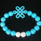 Charming Turquoise Colorful Chinese BLUE Knot Bead WHITE BLUE Veins Beads Stretch Bracelet ZZ2805