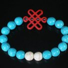Charming Turquoise Colorful Chinese RED Knot Bead WHITE BLUE Veins Beads Stretch Bracelet ZZ2807