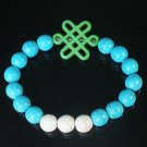 Charming Turquoise Colorful Chinese GREEN Knot Bead WHITE BLUE Veins Beads Stretch Bracelet ZZ2817