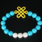 Charming Turquoise Colorful Chinese YELLOW Knot WHITE BLUE Veins Beads Stretch Bracelet ZZ2818