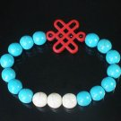 Charming Turquoise Colorful Chinese RED Knot Bead WHITE BLUE Veins Beads Stretch Bracelet ZZ2819