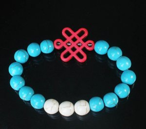 Charming Turquoise Colorful Chinese PINK Knot Bead WHITE BLUE Veins Beads Stretch Bracelet ZZ2821