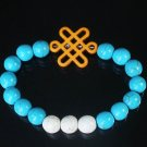 Charming Turquoise Colorful Chinese ORANGE Knot Bead WHITE BLUE Veins Beads Stretch Bracelet ZZ2822