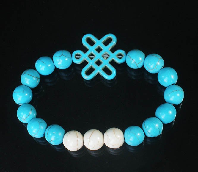 Charming Turquoise Colorful Chinese BLUE Knot Bead WHITE BLUE Veins Beads Stretch Bracelet ZZ2823