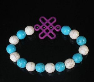 Charming Turquoise Colorful Chinese PURPLE Knot Bead WHITE BLUE Veins Beads Stretch Bracelet ZZ2825