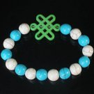 Charming Turquoise Colorful Chinese GREEN Knot Bead WHITE BLUE Veins Beads Stretch Bracelet ZZ2826