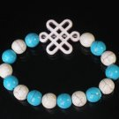 Charming Turquoise Colorful Chinese WHITE Knot Bead WHITE BLUE Veins Beads Stretch Bracelet ZZ2827