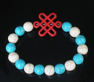 Charming Turquoise Colorful Chinese RED Knot Bead WHITE BLUE Veins Beads Stretch Bracelet ZZ2829
