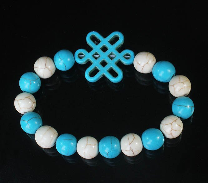 Charming Turquoise Colorful Chinese BLUE Knot Bead WHITE BLUE Veins Beads Stretch Bracelet ZZ2830
