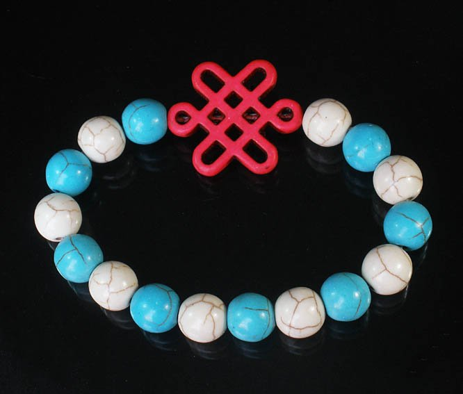 Charming Turquoise Colorful Chinese PINK Knot Bead WHITE BLUE Veins Beads Stretch Bracelet ZZ2831