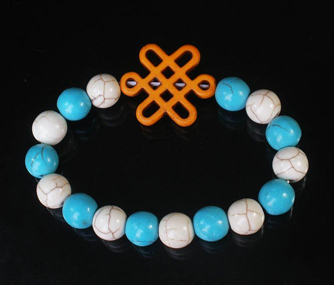 Charming Turquoise Colorful Chinese ORANGE Knot Bead WHITE BLUE Veins Beads Stretch Bracelet ZZ2832