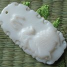 Natural Sea Shell Mother of Pearl Carved Constellation Capricorn Statue Amulet Pendant