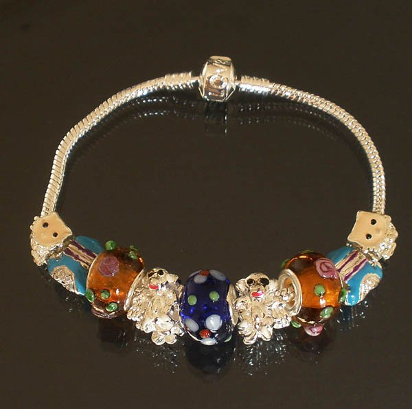 Plated Aldary Chains Colorful Glass Beads Europe Bracelet EZ2013