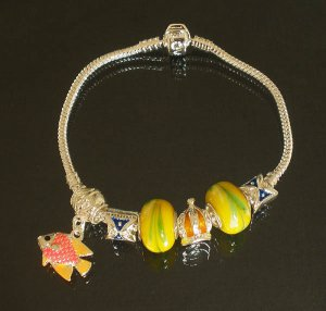 Plated Aldary Chains Colorful Glass Beads Europe Bracelet EZ2024
