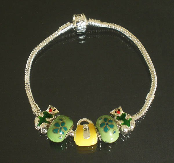 Plated Aldary Chains Colorful Glass Beads Europe Bracelet EZ2027