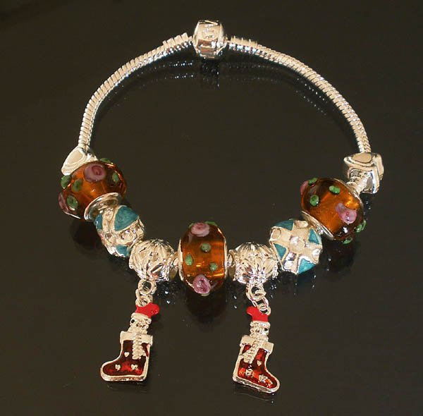 Plated Aldary Chains Colorful Glass Beads Europe Bracelet EZ2038