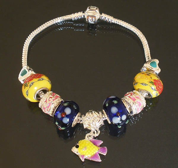 Plated Aldary Chains Colorful Glass Beads Europe Bracelet EZ2042