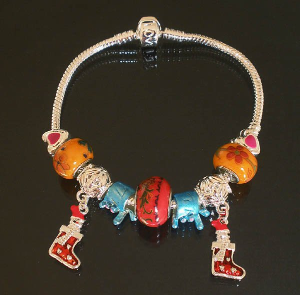 Plated Aldary Chains Colorful Glass Beads Europe Bracelet EZ2044