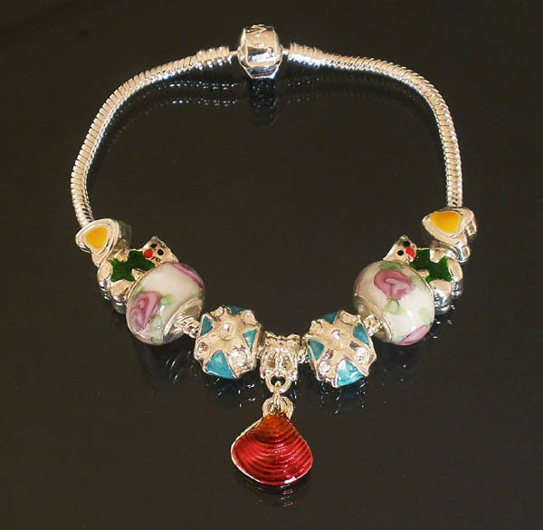 Plated Aldary Chains Colorful Glass Beads Europe Bracelet EZ2045