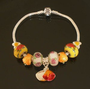 Plated Aldary Chains Colorful Glass Beads Europe Bracelet EZ2052