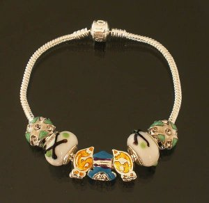 Plated Aldary Chains Colorful Glass Beads Europe Bracelet EZ2056