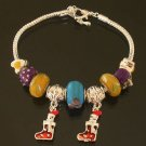 Plated Aldary Adjustable Chains Colorful Glass Beads Europe Bracelet EZ2060