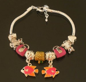 Plated Aldary Adjustable Chains Colorful Glass Beads Europe Bracelet EZ2061