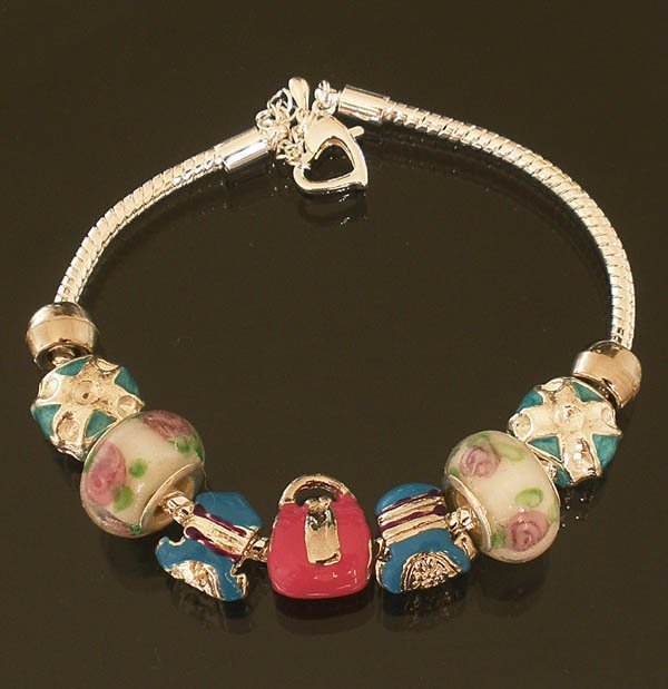 Plated Aldary Adjustable Chains Colorful Glass Beads Europe Bracelet EZ2065