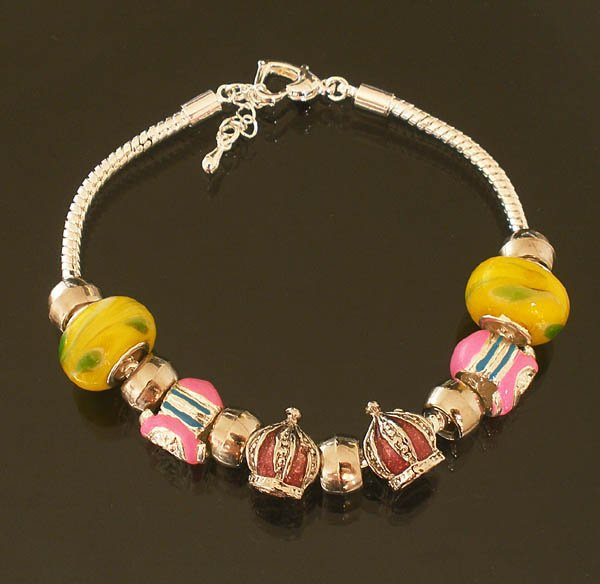Plated Aldary Adjustable Chains Colorful Glass Beads Europe Bracelet EZ2067