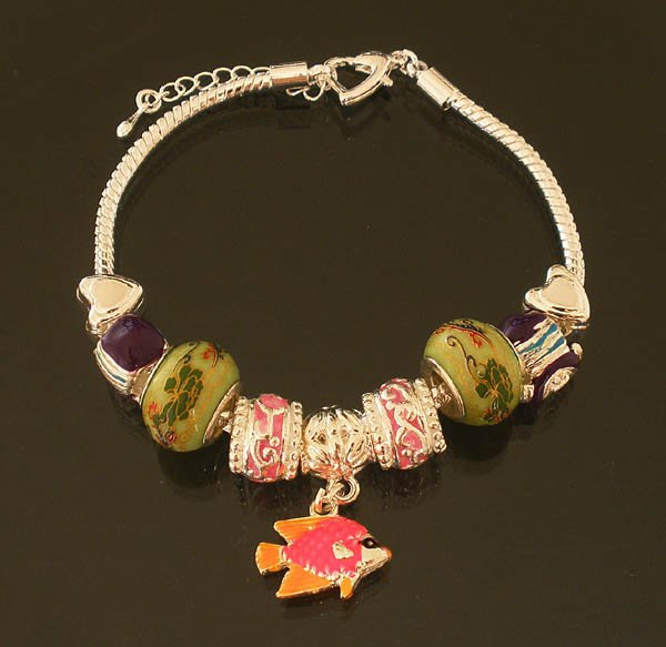 Plated Aldary Adjustable Chains Colorful Glass Beads Europe Bracelet EZ2073