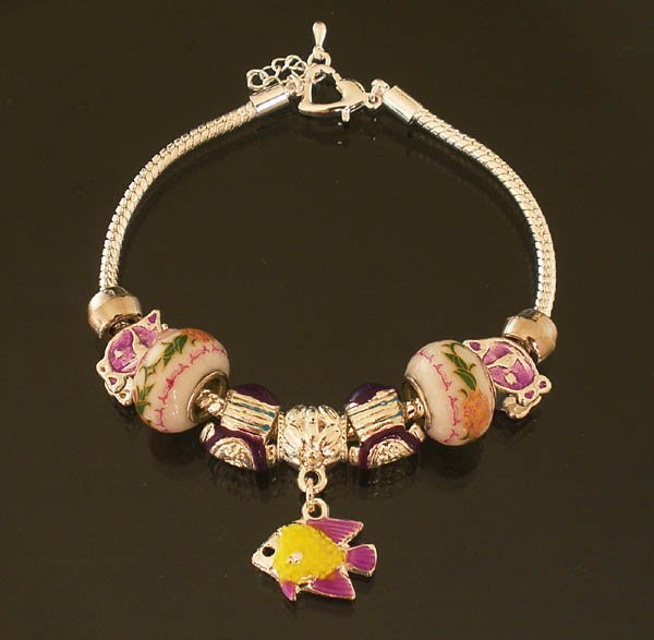 Plated Aldary Adjustable Chains Colorful Glass Beads Europe Bracelet EZ2074