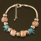 Plated Aldary Adjustable Chains Colorful Glass Beads Europe Bracelet EZ2077