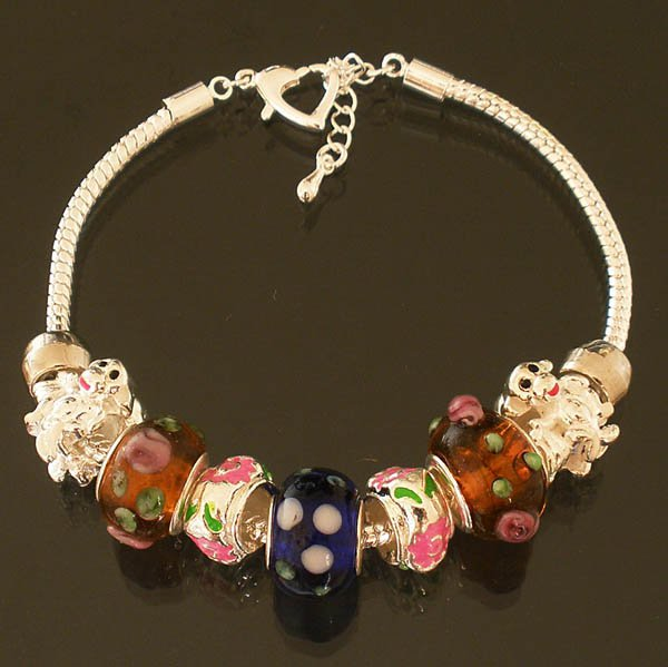 Plated Aldary Adjustable Chains Colorful Glass Beads Europe Bracelet EZ2078