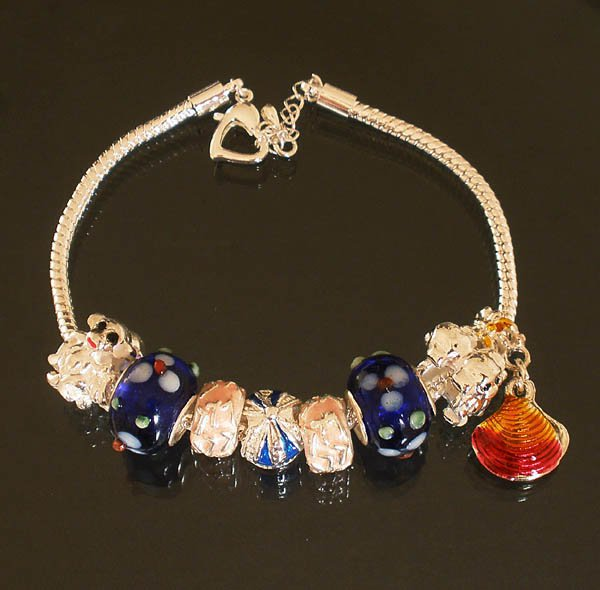 Plated Aldary Adjustable Chains Colorful Glass Beads Europe Bracelet EZ2091